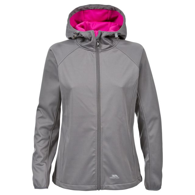 Sisely Women's Hooded Softshell Jacket in Grey, Front view on mannequin