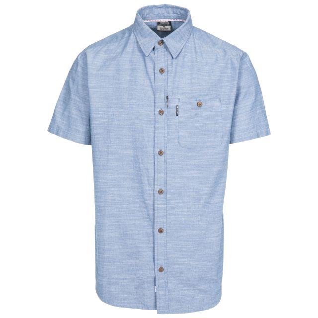 Slapton Men's Short Sleeve Shirt in Blue, Front view on mannequin