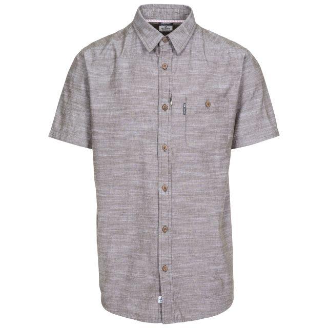 Slapton Men's Short Sleeve Shirt in Khaki, Front view on mannequin