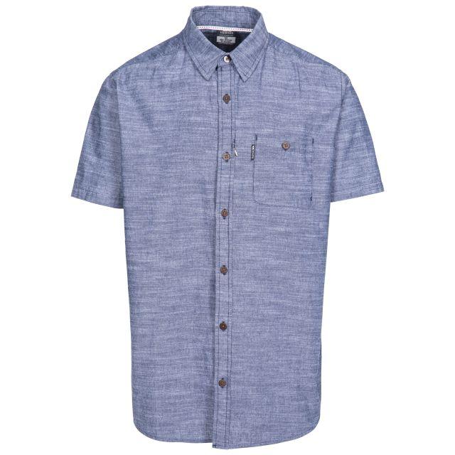 Slapton Men's Short Sleeve Shirt in Navy, Front view on mannequin