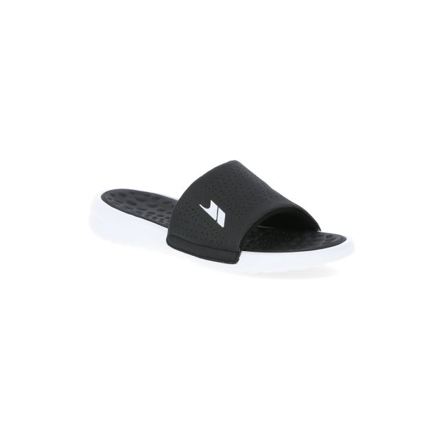 Slide Men's Cushioned Sandals in Black, Angled view of footwear