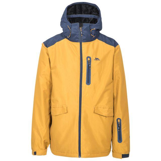 Slyne Men's Waterproof Ski Jacket in Yellow, Front view on mannequin