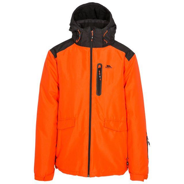 Slyne Men's Waterproof Ski Jacket in Orange, Front view on mannequin
