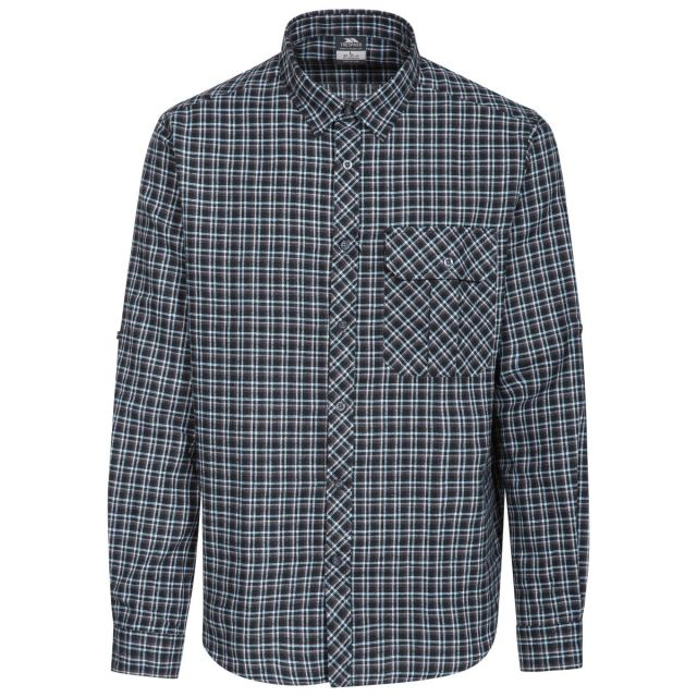 Snyper P Men's Long Sleeved Checked Shirt in Blue, Front view on mannequin