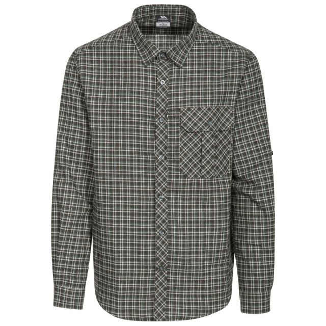 Snyper P Men's Long Sleeved Checked Shirt in Green, Front view on mannequin