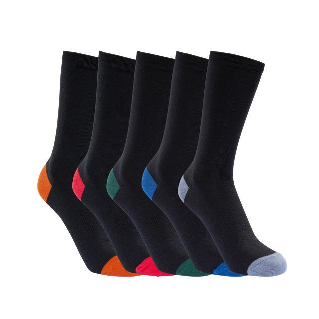 Trespass Unisex 5 Pair Pack Sock in Black Solace