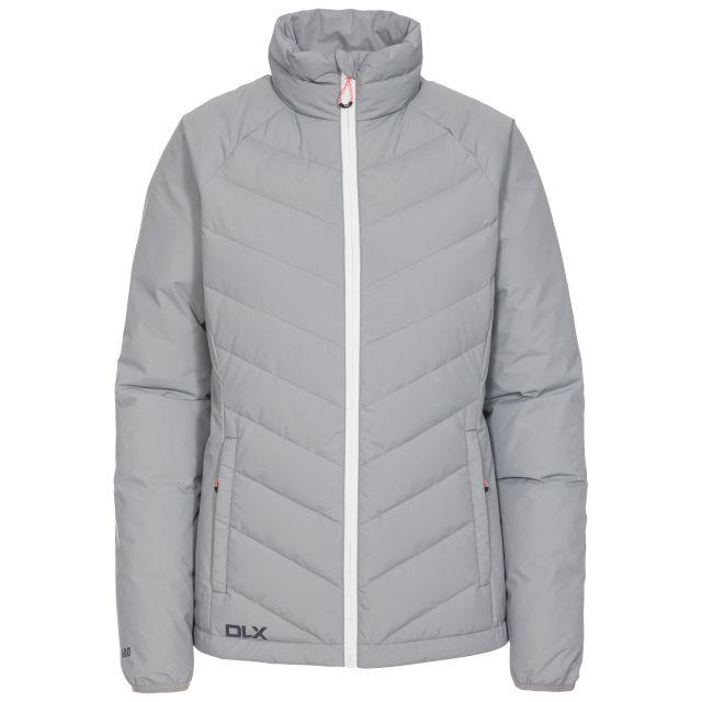Sondra Women's DLX Down Jacket in Grey, Front view on mannequin
