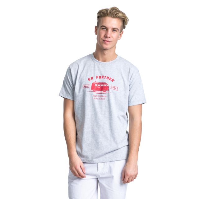 Space Men's Printed Casual T-Shirt in Light Grey