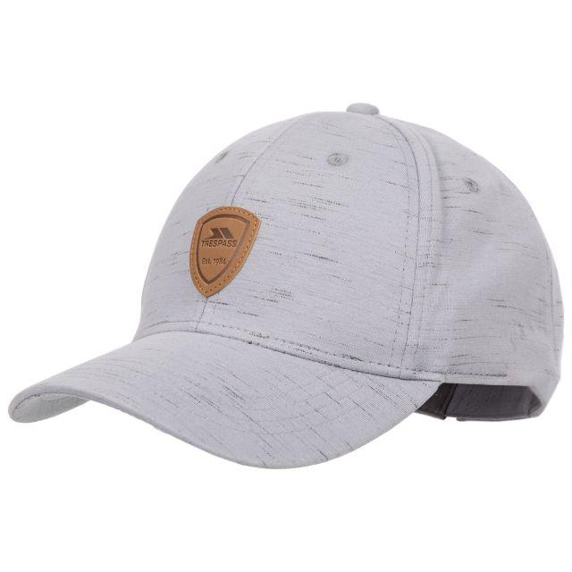 Trespass Adults Baseball Cap Woven Light Grey, Hat at angled view