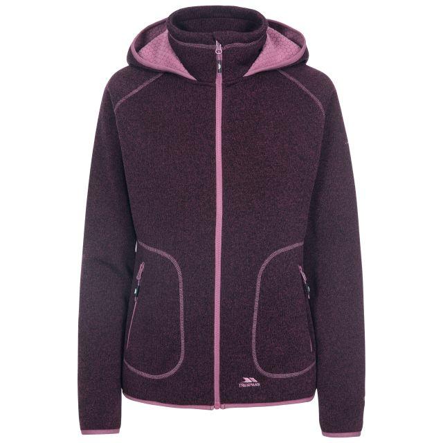 Splendor Women's Hooded Fleece Jacket in Purple, Front view on mannequin