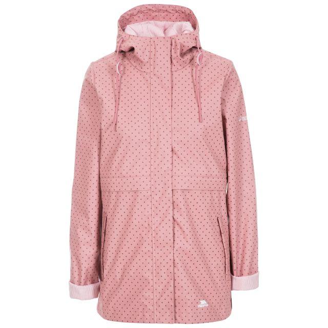 Splosh Women's Printed Waterproof Jacket in Pink, Front view on mannequin