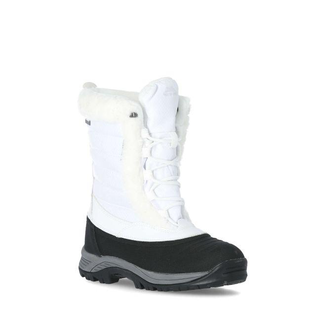 Stalagmite II Women's Fleece Lined Waterproof Snow Boots in White, Angled view of footwear