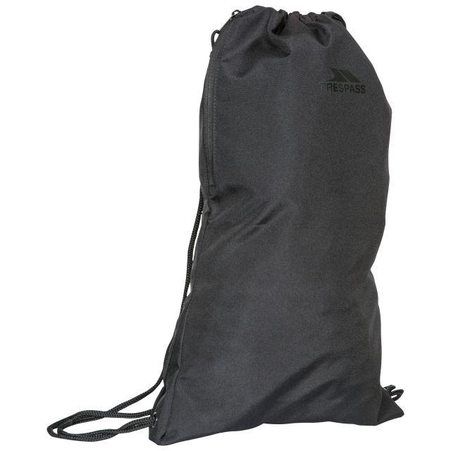 Trespass Drawstring Bag Black with Side Pocket Stape Black