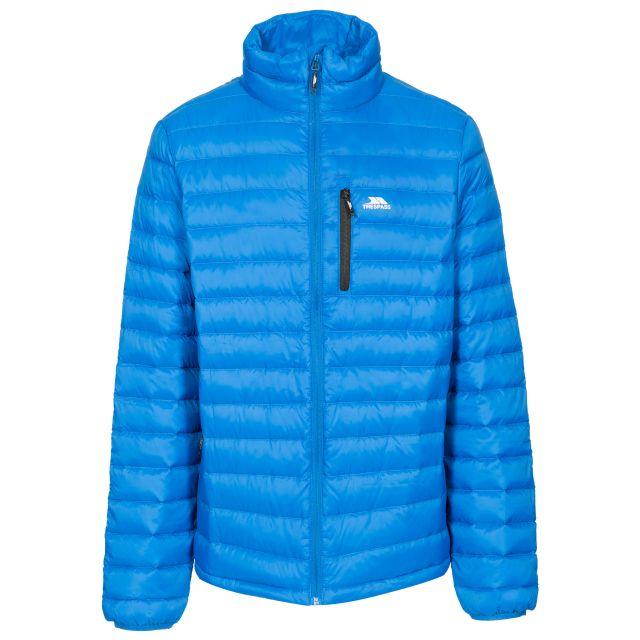Stellan Men's Lightweight Down Jacket in Blue, Front view on mannequin