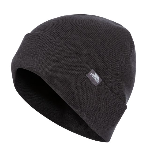 Stines Adults' Beanie Hat in Black, Hat at angled view