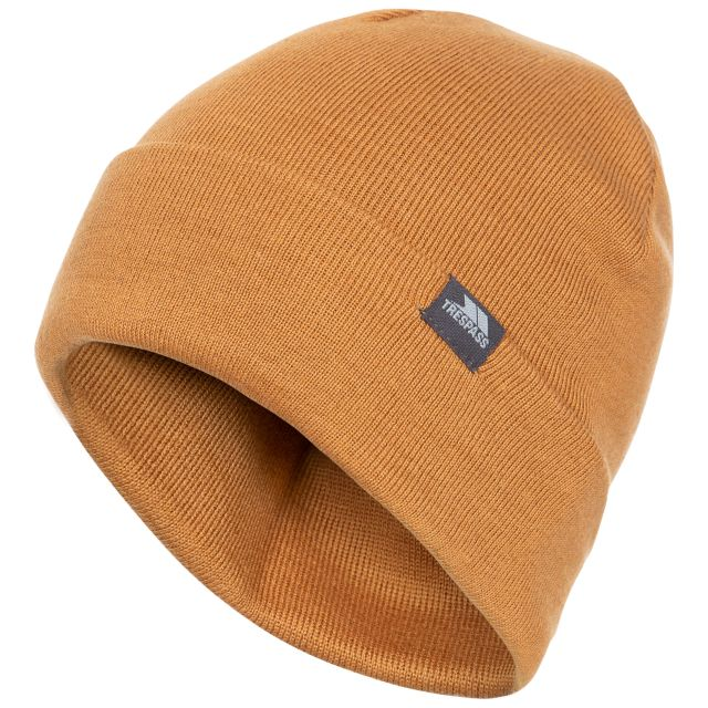 Stines Adults' Beanie Hat in Beige, Hat at angled view