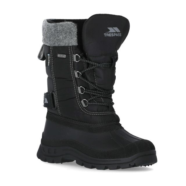 Strachan Youth Boys' Lace Up Snow Boots in Black, Angled view of footwear