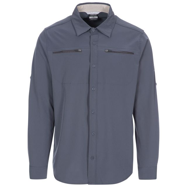Strettington Men's Insect Repellent Shirt in Grey, Front view on mannequin