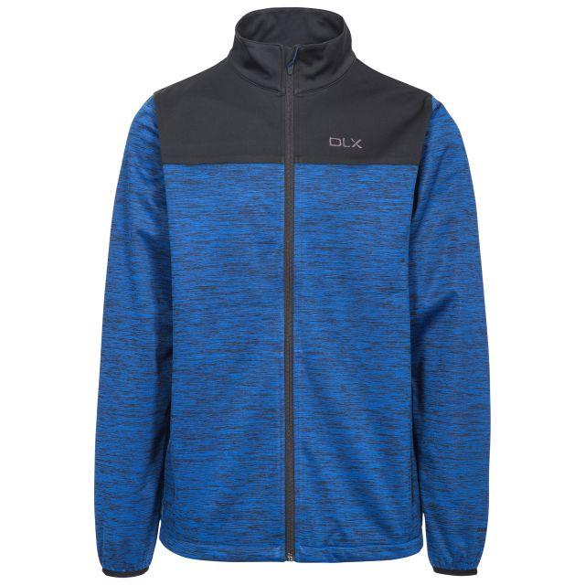 Strikland Men's DLX Softshell Jacket in Blue, Front view on mannequin