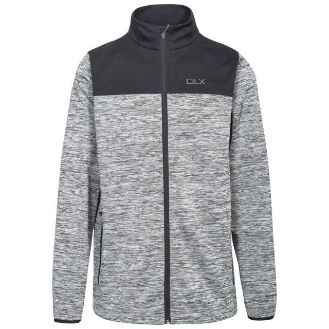 Strikland Men's DLX Softshell Jacket in Light Grey, Front view on mannequin