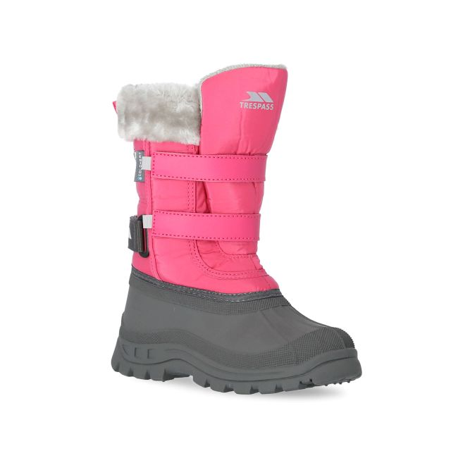 Stroma II Girls' Fleece Lined Snow Boots in Pink, Angled view of footwear