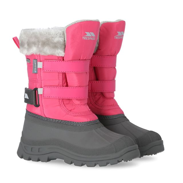 Trespass II Girls Fleece Lined Snow Boots in Pink Stroma
