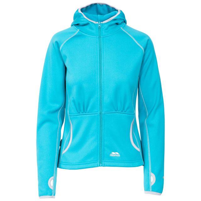 Sunnyside Women's Fleece Hoodie in Blue, Front view on mannequin