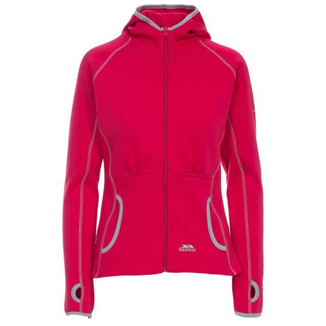 Sunnyside Women's Fleece Hoodie in Pink, Front view on mannequin