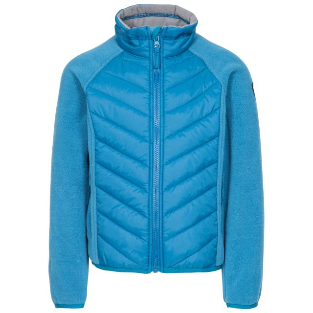 Surprising Kids' Padded Fleece Jacket in Blue, Front view on mannequin