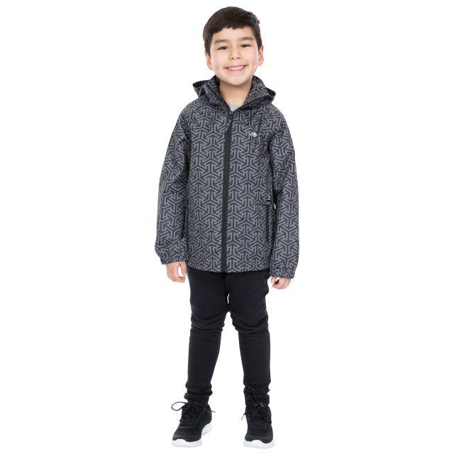 Trespass Boys Printed Waterproof Jacket in Black Sweeper