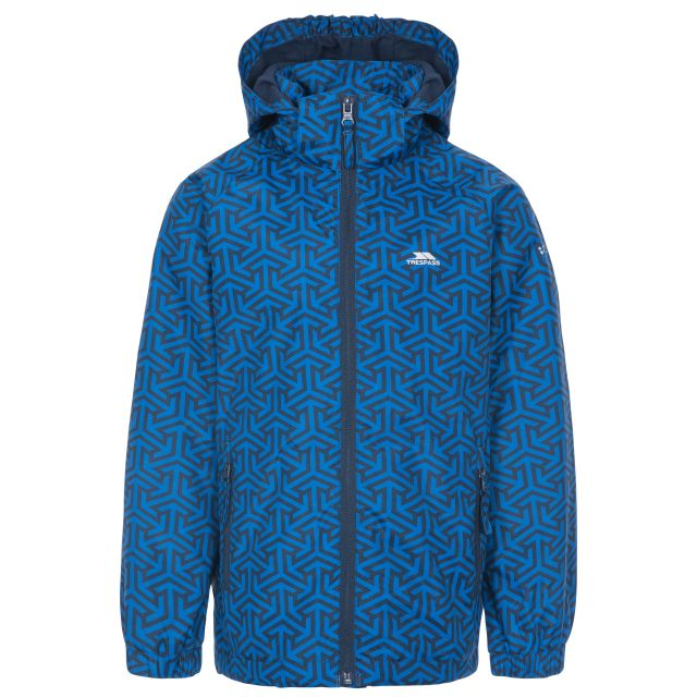 Sweeper Boys' Printed Waterproof Jacket in Blue, Front view on mannequin