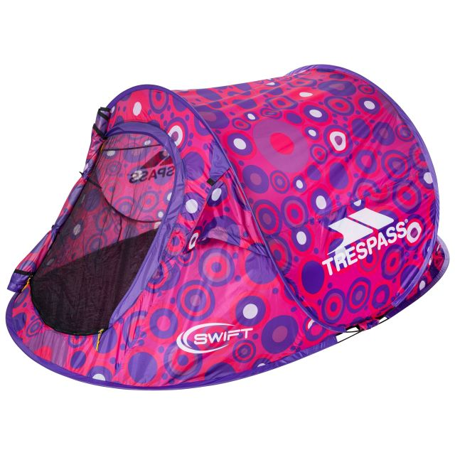 Swift2 Patterned Waterproof  2 Man Pop Up Tent in Pink, Packed view