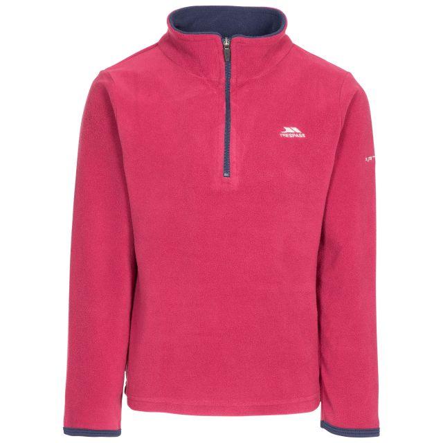Sybil Kids' Half Zip Fleece in Red, Front view on mannequin