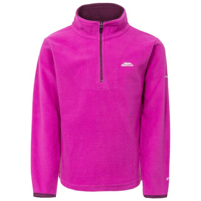 Sybil Kids' Half Zip Fleece in Purple, Front view on mannequin