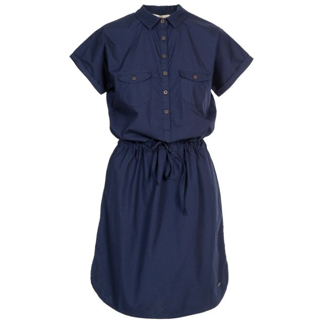 Talula Women's Short Sleeve Dress in Navy, Front view on mannequin