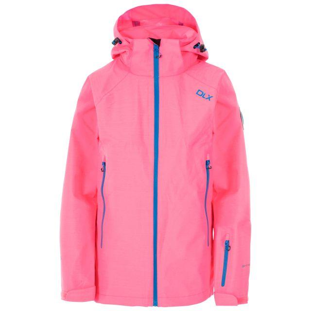 Tammin Women's DLX Waterproof Ski Jacket in Peach, Front view on mannequin