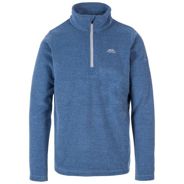 Tandle Men's 1/2 Zip Fleece in Blue, Front view on mannequin