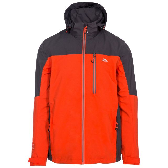 Tappin Men's Waterproof Jacket in Flame, Front view on mannequin