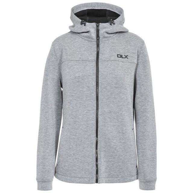 Tauri Women's DLX Full Zip Hoodie in Light Grey, Front view on mannequin