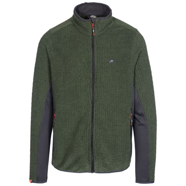 Templetonpeck Men's Fleece Jacket in Khaki, Front view on mannequin