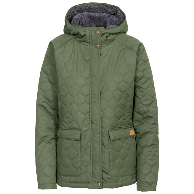Tempted Women's Hooded Down Jacket in Khaki, Front view on mannequin