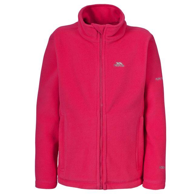 Teviot Kids' Full Zip Fleece Jacket in Pink, Front view on mannequin