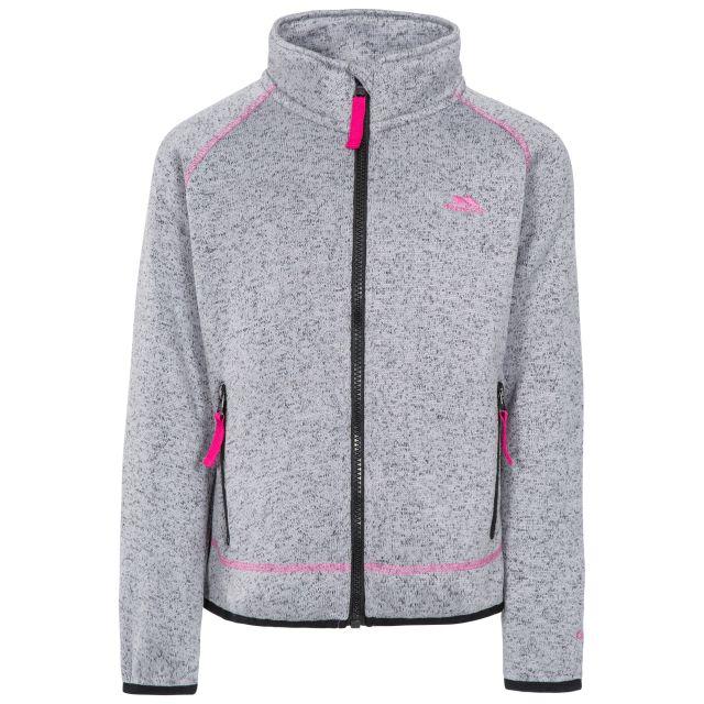 Thankful Kids' Fleece Jacket in Light Grey, Front view on mannequin