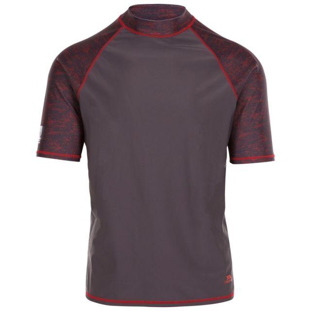 Trespass Men's Short Sleeve UV Rash Guard Theo Grey, Front view on mannequin