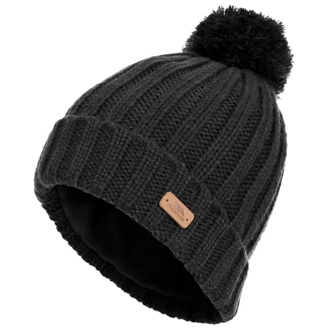 Thorns Adults' Bobble Hat in Black, Hat at angled view