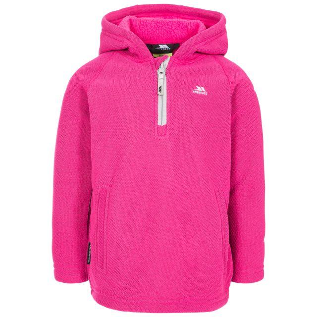 Thunda X Kids' Fleece Hoodie in Pink, Front view on mannequin