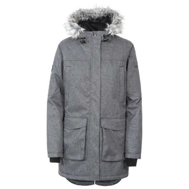 Thundery Women's Waterproof Parka Jacket in Grey, Front view on mannequin