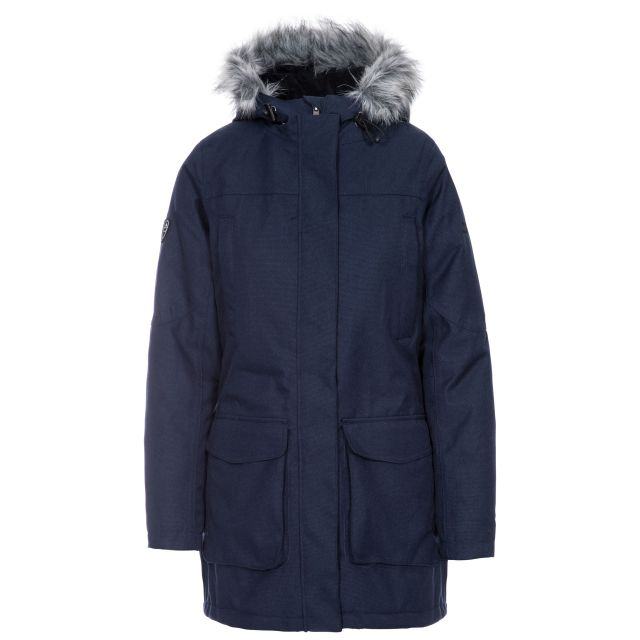 Thundery Women's Waterproof Parka Jacket in Navy, Front view on mannequin