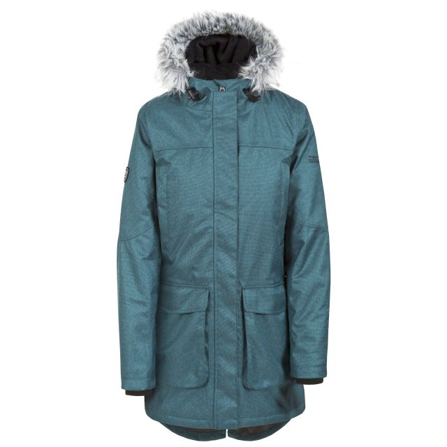 Thundery Women's Waterproof Parka Jacket in Teal, Front view on mannequin
