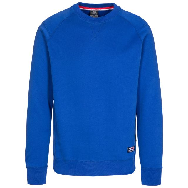 Thurles Men's Jumper in Blue, Front view on mannequin